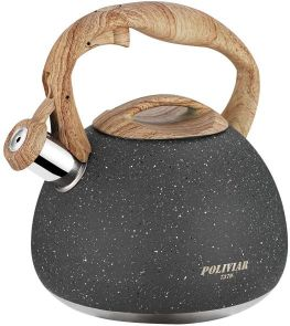 Poliviar Tea Kettle - 2.7 Quart Natural Stone Finish with Wood Pattern Handle