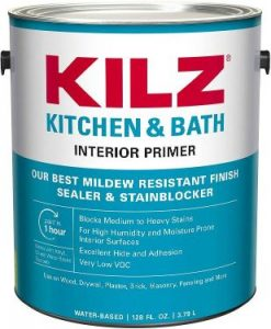 KILZ L204511 Kitchen & Bath Interior Latex Primer Sealer Stainblocker with Mildew-Resistant Finish