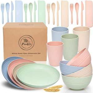FOODLE Wheat Straw Dinnerware Sets (28Pcs) - Microwave and Dishwasher Safe