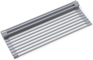 Kraus KRM-10 GREY Silicone Coated Stainless Steel Over The Sink Multipurpose Roll-Up Dish Drying Rack