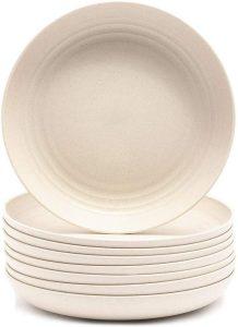 New Wheat Straw Fiber Plates Set - Microwave Save Dish Washer Safe For Salad Pasta Safe for Toddler