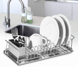 Oggi 3-Piece Dish Drain Set with Stainless Steel Utensil Caddy & Drip Tray