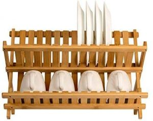 Sagler wooden Compact Dish Drying Rack Bamboo Dish Drainer