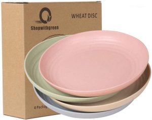 Shopwithgreen 10 Inch Wheat Straw Deep Dinner Plates - Microwave and Dishwasher Safe