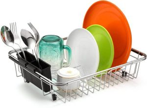 iPEGTOP Expandable Dish Drying Rack, Over The Sink Dish Rack, in Sink Or On Counter Dish Drainer with Black Utensil Holder Cutlery Tray
